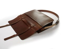 Handmade Large Messenger Bag VegTan Leather DyedEdges by BasAder