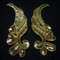 LR17-3 Mirror Pair Left Right Sequin Bead Applique Gold