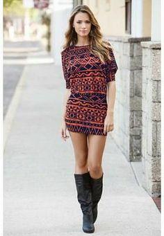 COLD SHOULDER AZTEC TUNIC DRESS $24.90