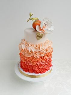 Peaches & cream for Georgia's 1st - Peach themed birthday cake for baby Georgia :)