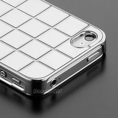Silver Acrylic Chocolate Hard Case Grid Chrome Cover for iphone 4 4G 4S + Film