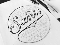 Final logo concept for Santo restaurant in Rome opening soon by mateuszwitczakdesigns Creative Lettering, Lettering Design, Branding Design, Calligraphy Types, Types Of Lettering, Typographie Inspiration, Typographie Logo, Hand Type, Logo Concept