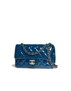 Mini flap bag, patent calfskin & gold-tone metal-dark blue - CHANEL