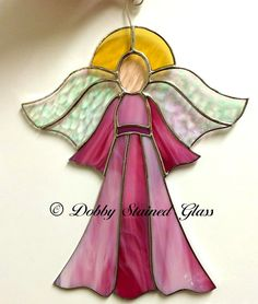 Stained Glass Suncatcher Angel Pink & White by DobbyStainedGlass