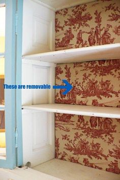 Wrap cardboard with fabric or wrapping paper and pop into the back of your bookcase or china cabinet. No damage to the furniture and easy to change up!