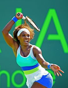 Serena...MIAMI: The world #1 grabbed a 2nd round 6-1, 6-1 victory over Flavia Pennetta wearing #NIKE NIKE PLEATED KNIT  WOMEN'S TENNIS DRESS in White/Atomic Teal/Violet Force/Volt, Style - Color # 523357-100, NIKE PERFECT MATCH   WOMEN'S TENNIS SHORTS in Violet Force, PLUS Serena is wearing her #NIKE #FUELBAND  #Adorable