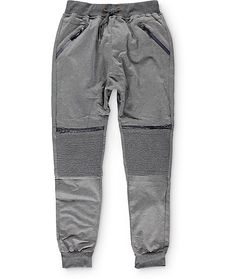 Get your jogger game on point with a unique stacked moto stitched knee panel plus faux waterproof zippers on the knees and a gusseted drop crotch in a charcoal colorway.
