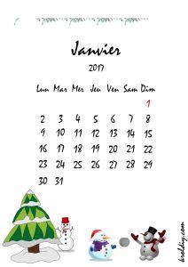 Calendrier mois de janvier 2017 à imprimer