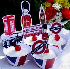UK London inspired Cupcake Toppers - So cute!! #UK #BritishParty #London #Cupcakes #CupcakeToppers #PartyIdeas #FestaInglesa #Printables