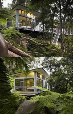 """Located near the ocean in Pittwater, about 30 miles north of Sydney, the Church Point Home was designed by Sydney architectural firm Utz Sanby. The firm describes the home as a tree house that offers """"seclusion and sanctuary"""" to its residents. Concrete pillars made to look like trees support the house on its hillside seat, much like limbs act as a tree house's supports."""