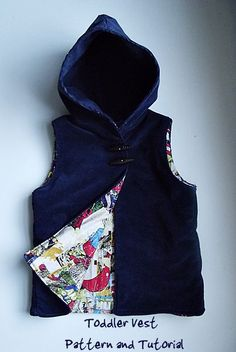 Free hooded vest pattern and tutorial. Make a lined hooded vest for your toddler. Great for fall and spring transitions.: