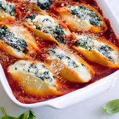 Spinach and Ricotta Stuffed Shells: easy to make ahead of time, then pop in the oven later.