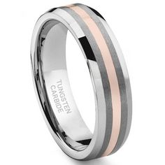 6MM Tungsten Carbide 14K Rose Gold Inlay Wedding Band, Sean likes this one and the 14K Yellow Gold one. #wedding #ring #mens