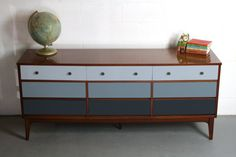 Mid Century Modern Painted 60's Stunning 9 Drawer Dresser by ABTModern #Danish #Ombre #Painted #MCM #Furniture #DIY #Custom #Order #Baby #Changing #Table #Vintage