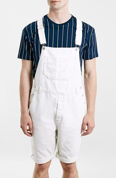 Destroyed denim overall shorts