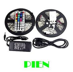 RGB 10m 5050 led strip light waterproof tape fita de tiras luces bande 12V + 44 Key Remote control + Power adapter Free shipping #Affiliate