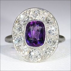Stunning Antique Platinum Edwardian Diamond and Amethyst Ring c.1910 from vsterling on Ruby Lane