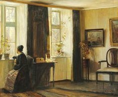 The Athenaeum - Interior with the artists wife at the window (Carl Vilhelm Holsøe - No dates listed)