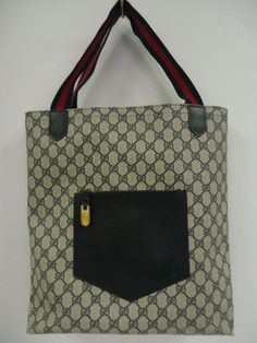 c31b4b318aa VINTAGE 1980 s GUCCI Monogram Canvas Shopper Tote Bag  Gucci  TotesShoppers   Everyday