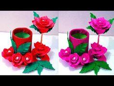 How to make flower vase at home - Plastic bottle flower vase - Make flow. Plastic Bottle Flowers, Plastic Bottle Crafts, Plastic Bottles, Diy Arts And Crafts, Felt Crafts, Kids Crafts, Paper Crafts, Flower Vase Making, Flower Vases