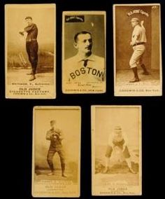 Some of the most valuable and sought after baseball cards in the hobby are the 1880s sepia photo cards N172 Old Judges, Lone Jack, Four Base Hits, Kalamazoo Bats, Gypsy Queen, SH Hess, Yum Yum Tobacco and G & B Gum Tobacco.