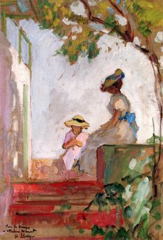 Henri LEBASQUE (1865-1937) - Saint Maxime, Madame Lebasque and Her Daughter on the Terrace