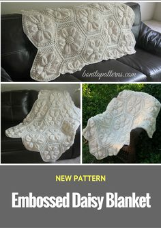 NEW Pattern Launch: Embossed Daisy Blanket - 20% off ALL Embossed Crochet Patterns & Kits
