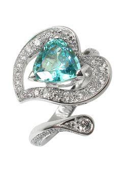 Arome ring / Paraiba tourmaline and diamonds, white gold / Mathon Paris