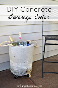 Make your own DIY concrete beverage cooler! A fun way to entertain outdoors during the summer, while keeping your drinks cold!Have a Refreshing Summer Party with These 7 DIY Outdoor Cooler IdeasArts And Crafts Year Old Arts And Crafts Refferal Concrete Crafts, Concrete Art, Concrete Projects, Concrete Design, Concrete Houses, Polished Concrete, Diy Party Dekoration, Diy Cooler, Pallet Cooler