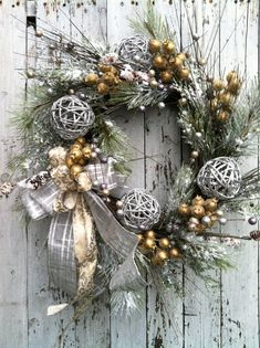 Silver and Gold Christmas Wreath Wreath For by marigoldsdesigns, $113.00