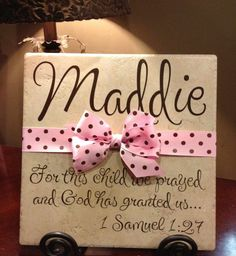 Personalized Adoption Gift or Baby Shower Vinyl Art Decorative Tile Craft Gifts, Diy Gifts, 1 Samuel 1 27, Adoption Gifts, Tile Crafts, Baby Monogram, Silhouette Cameo Projects, Everything Baby, Decorative Tile