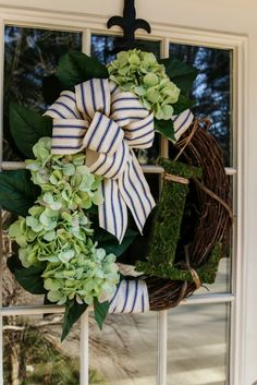 Simple monogrammed hydrangea spring wreath with supplies from Walmart