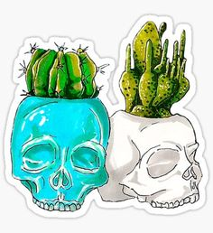 2 skulls with cacti Sticker Cactus Stickers, Red Bubble Stickers, Cool Stickers, Printable Stickers, Laptop Stickers, Tumblr Iphone Wallpaper, Halloween Stickers, Journal Stickers, Aesthetic Stickers