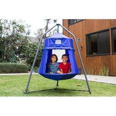 Sportspower BluPod Jr Hanging Tent - x x Blue Outdoor Play Spaces, Outdoor Fun, Outdoor Games, Metal Swing Sets, Pop Up Play, Play Tunnel, Hanging Tent, Play Teepee, Outdoor Play Equipment