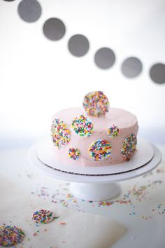 Lovely Cake Decorated With Sprinkles - Craftsy.com