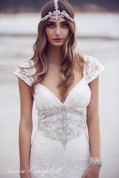 chic 2016 brilho campo anna campbell casar hippie moda de dia vestido de noiva tendência