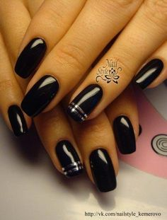 Accurate nails, Beautiful nails Black and silver nails, Black dress nails. - Accurate nails, Beautiful nails Black and silver nails, Black dress nails… - Sparkle Nails, Silver Nails, Black Nails, White Nails, Striped Nail Designs, Best Nail Art Designs, Nail Polish Designs, Nail Art Stripes, Striped Nails