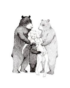 Three Bears  8x10 print by StupidAnimalShop on Etsy, $21.00