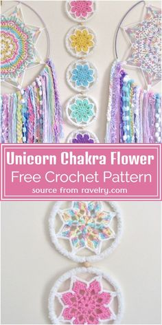 Crochet Dreamcatcher Pattern Free, Free Mandala Crochet Patterns, Crochet Motif, Free Crochet, Crochet Unicorn Pattern Free, Crochet Wall Art, Crochet Wall Hangings, Crochet Baby Mobiles, Crochet Flower Tutorial