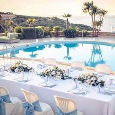 Blue & white wedding theme. Private via wedding reception in Crete. For inquiries contact us at info@royalblueevent.gr