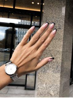 Watch, black tips fo Classy Nails, Stylish Nails, Cute Acrylic Nails, Cute Nails, Acrylic Tips, Pretty Nails, Nail Manicure, Nail Polish, Square Nail Designs