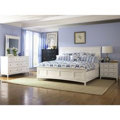 bedroom ideas-I want a white bedroom set!! .... I actually like the black accent dresser!