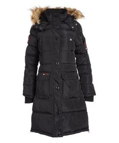This Black Faux Fur-Trim Long Puffer Coat - Plus Too by Canada Weather Gear is perfect! #zulilyfinds