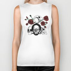 Grunge skulls and roses (afro skull included. Color version) by #Beatrizxe | #society6 #tank #tee #shirt #fashion Ink drawing of four skulls with a grunge and tattoo style. It is inspired in grunge, punk and rock music.  As background I added some roses with their stems and thorns. #skull #skulls #grunge #punk #rock #sunglasses #tattoo #rose #stem #thorns #death #dead #bones #black #white #ink #music #skeleton #illustration #artwork #drawing #art #tattooDesign #tattooStyle