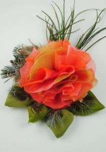 Coral Rose Silk Flower Brooch--Style # 1073. silk, peacock & pheasant feather