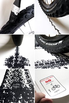 singapore-based designer thomas yang has created a comprised a series of architecturally-influenced posters made from painted bicycle tire tracks.