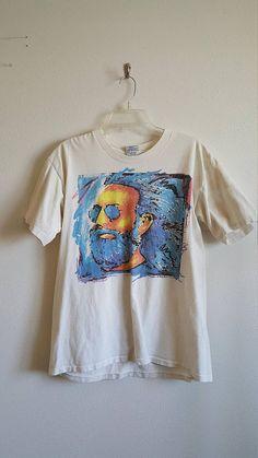 e55e8b9310d Jerry Garcia Shirt Vintage 90 s 1991 Worcester Tour Jerry Garcia of  Grateful Dead White Concert Tee