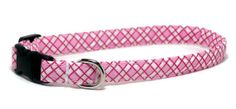 Dog Collar  Pink Argyle  Size XS  Large by PawsnTails on Etsy, $11.00
