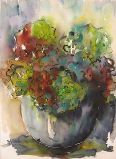 Hortensia aquarel en inkt op papier