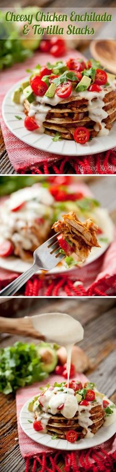 Cheesy Chicken Enchilada & Tortilla Stacks - Krafted Koch - A simple dinner recipe that is loaded with flavor and tips on getting the best prices while grocery shopping with Walmart's Savings Catcher! Chile Colorado, I Love Food, Good Food, Yummy Food, Mexican Dishes, Mexican Food Recipes, Mole, Burritos, Enchiladas Potosinas